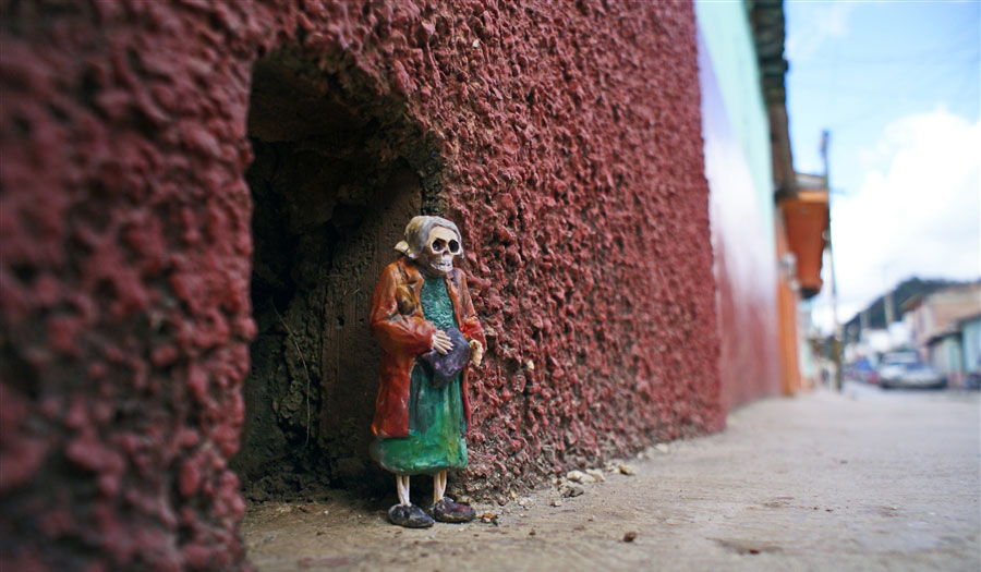 Tiny Skeletons On The Streets Of Chiapas, Mexico