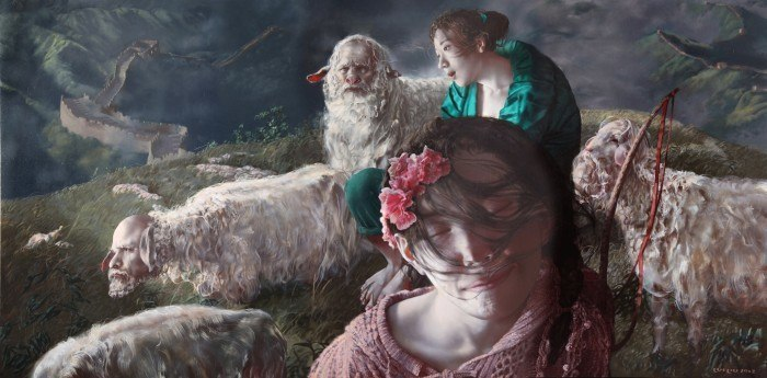 Lui-Liu-2012-Sheep-and-Sherpard-100X200cm