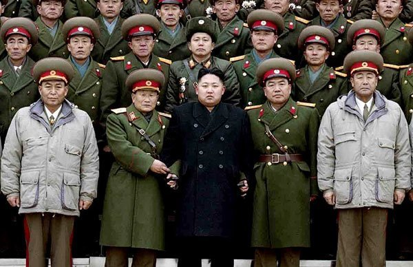 Kim Jong Un Poses with the North Korean military.