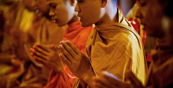 Buddhist Monks Praying at Wedding Ceremony