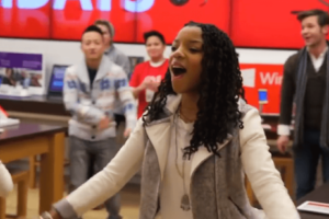 A Caroling Flash Mob Happened at the Microsoft Store