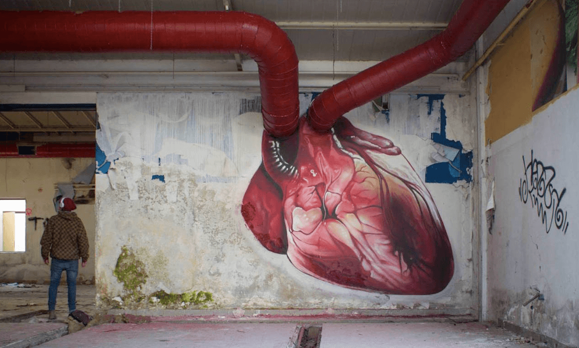 Artist brings beating heart mural to life with stop motion for Blood in blood out mural