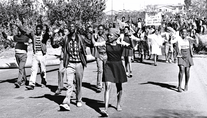 "SOWETO - SOUTH AFRICA, JUNE 16: On 16 June 1976 high-school students in Soweto, South Africa, protested for better education. Police fired teargas and live bullets into the marching crowd killing innocent people and ignited what is known as ""The Soweto Uprising"", the bloodiest episode of riots between police and protesters since the 1960's. (Photo by Bongani Mnguni/City Press/Gallo Images/Getty Images)"