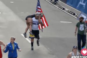 Vet Who Lost His Leg Crosses Boston Marathon Finish Line Carrying His Guide