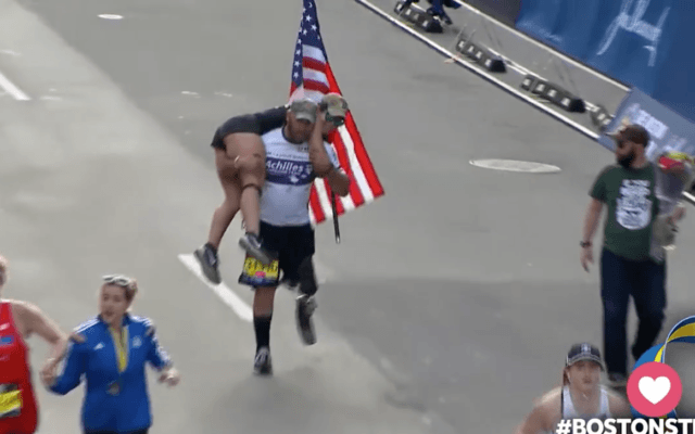 Vet Who Lost His Leg Crosses Boston Marathon Finish Line Carrying His Guide