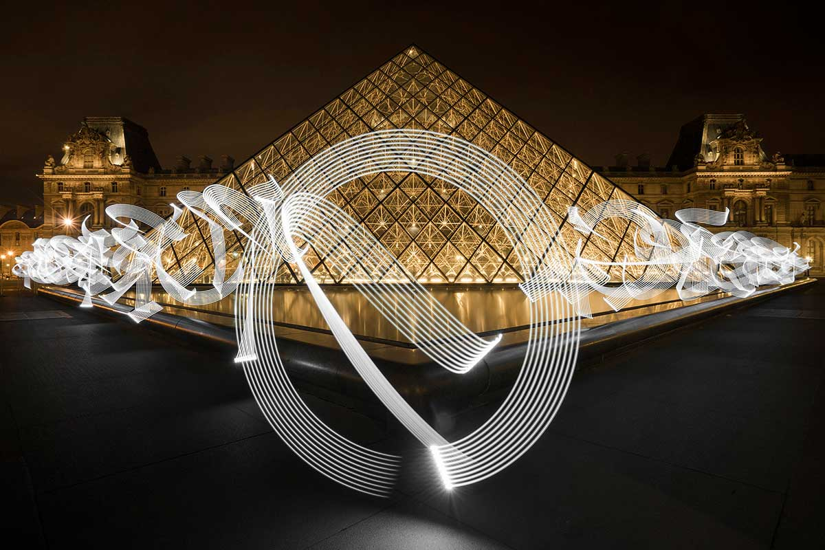 Artist Uses Light to Paint 'Calligraffiti' in Front of Historic Sites