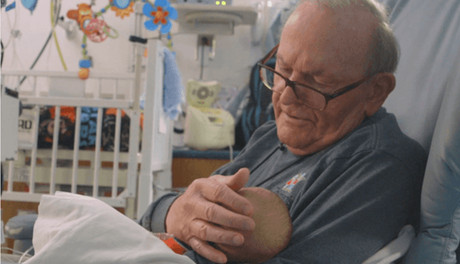Awesome Grandpa Gives Love to Premature Babies When Parents Can't